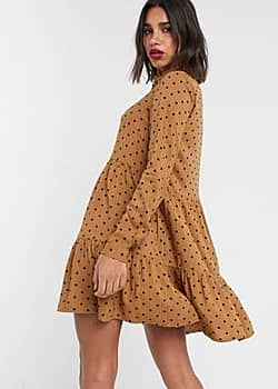 Stradivarius shirt dress in beige with black dots