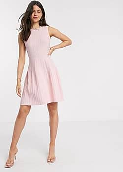 balieey stitch detail knitted sleeveless mini dress in pink