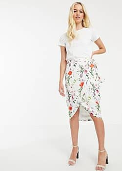 Camiila midi wrap skirt in hedgerow floral-Multi