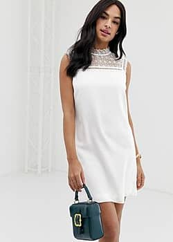 Ted Baker Carsey tunic dress with lace yoke-White