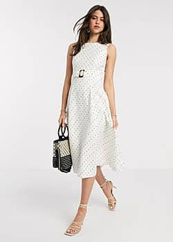 caryla a line belted spot midi dress in ivory-White