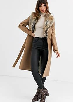 Corinna long wrap coat with faux fur collar-Beige