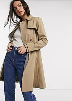 fitted trench coat in tan-Beige