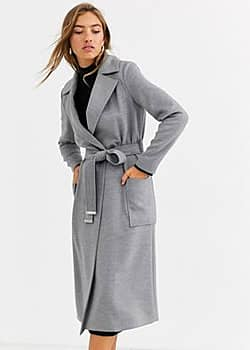 Ted Baker Joseete side button long coat-Grey