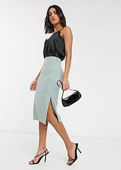 textured slit side midi skirt in mint-Green