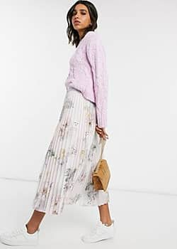 Woodland pleated midi skirt in pink