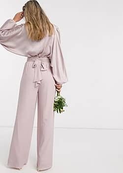 bridesmaids wide leg trouser with ruffle waist detail and belt in pink