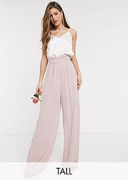 TFNC bridesmaids wide leg trouser with ruffle waist detail and belt in pink