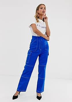 Becky trousers with contrast stitching-Blue