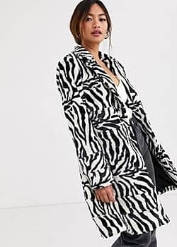 zebra faux fur coat-Black