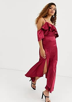 True Decadence asymmetric maxi skirt co-ord with ruffle hem in raspberry-Pink