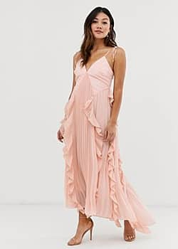 premium cami dress with ruffle and pleated skirt in peach-Pink