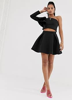 True Violet pleat mini skater skirt in black