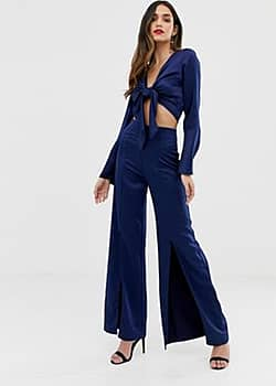 wide leg trousers with split-Navy