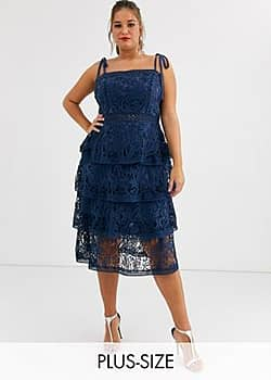 Truly You allover lace tiered midi dress in navy