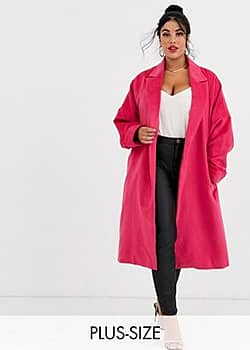 belted wool coat-Pink