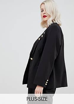 blazer with button detail-Black