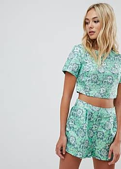 co-ord tee with brocade-Green