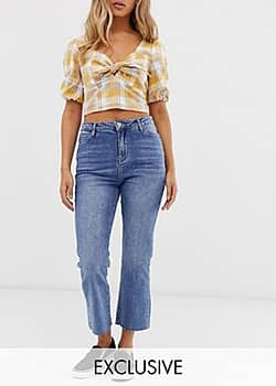 cropped kicked flare jeans-Blue