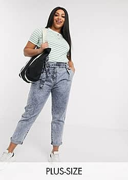 Urban Bliss high waisted mom jeans with belt in blue