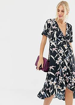 capped sleeve floral wrap dress-Multi