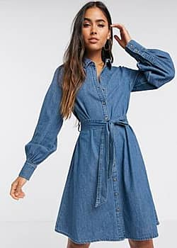 denim dress with balloon sleeves in blue