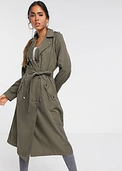 Vero Moda trench coat with buttons detail in khaki-Grey
