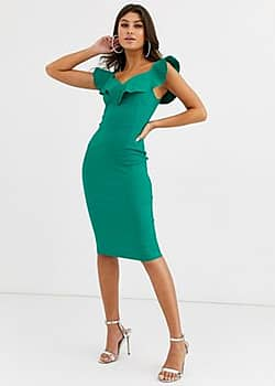 bodycon dress with sweetheart neckline with frill in emerald green