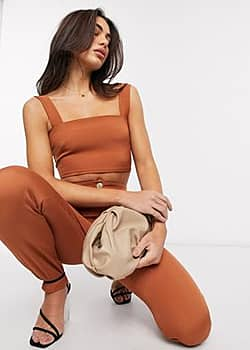 crop top co-ord in brown