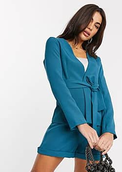 tailored wrap jacket co-ord in teal-Green