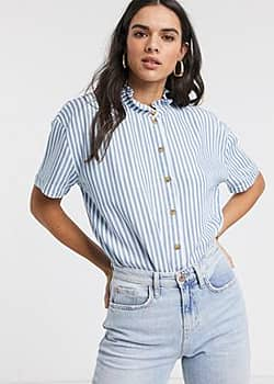 blouse with ruffle neck in blue stripe-Multi