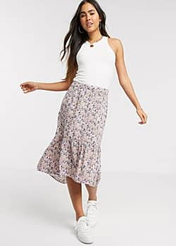 Vila drop hem skirt in pink floral print-Multi