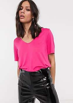 Weekday Abby scoop neck t-shirt in fuchsia pink