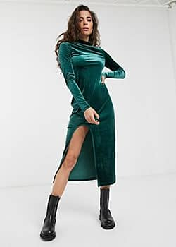 Weekday Bonita velvet round neck midi bodycon dress in green