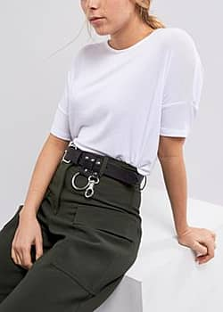 Weekday Leather Belt with Ring Detail-Black