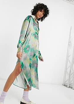 Weekday Parisa satin shirt dress-Multi
