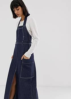 Weekday recycled edition apron denim dress in blue