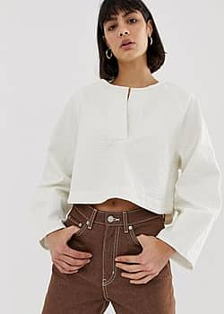 recycled Edition denim blouse in off white-Blue