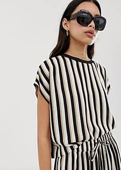 relaxed fit co-ord t-shirt in mono stripe-Multi