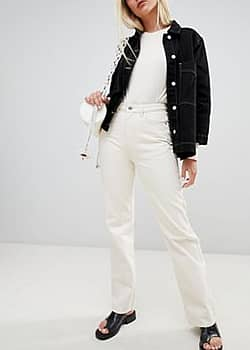 Weekday Row mom jeans with organic cotton in off white-Beige
