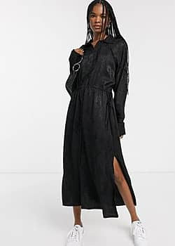 Weekday snake jacquard shirt dress in black