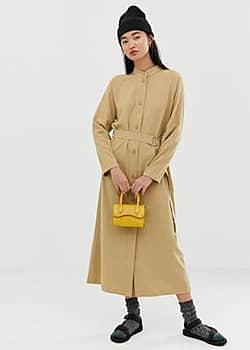 Weekday tie front button dress in camel-Blue