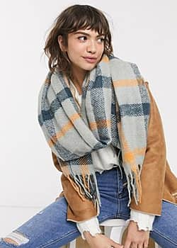 Y.A.S brushed blanket scarf in check-Grey