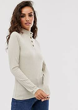 Y.A.S button detail long sleeve top-Beige