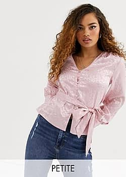 Sybls satin button up blouse-Pink