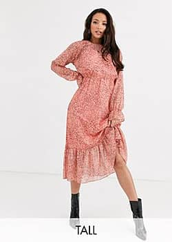 Y.A.S Owa long sleeve ditsy floral midi shirt dress-Pink