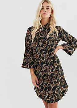 chain patterned shirt dress-Black