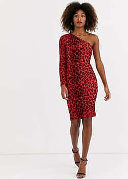 one shoudler leopard print bodycon dress-Red