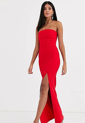 bandeau maxi dress with leg split in red