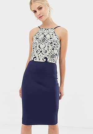 midi pencil dress with gold embroidery in navy
